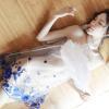 Áo ngủ cổ yếm thêu hoa xanh trong suốt