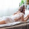 Váy ngủ xẻ ngực gồm quần lót nữ mỏng dính - Màu Trắng Free size - Xuyên thấu - vay-ngu-trang-goi-cam-tk2196-3.jpg