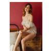 Váy ngủ cô dâu quyến rũ kèm quần lót nữ ren + vòng tay gợi cảm - Màu Trắng Free size - Mặc vào cùng nhau thăng hoa cảm xúc - vay-ngu-trang-ngot-ngao-tk2051-4.jpg