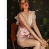 Áo ngủ jumpsuit lụa viền ren dễ thương - Màu hồng phấn Free size - Yêu đầy đam mê - tk1758-do-ngu-jumpsuit-lua-de-thuong-4.jpg