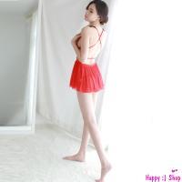 Váy ngủ dễ thương cùng quần lót nữ đẹp nhất - Màu Đỏ Free size quyến rũ - tk990-vay-ngu-sexy-cheo-lung-3.jpg
