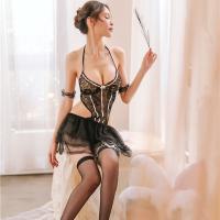Đầm ngủ ren xòe hở lưng sexy cùng quần lót nữ lọt khe - Màu Trắng, Đen Free size - Mê hoặc đối phương - tk1769-vay-ngu-sexy-5.jpg