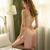 Váy ngủ lụa phối ren xẻ sâu quyến rũ - Màu Đen, Hồng cỡ M - Gợi cảm - vay-ngu-quyen-ru-lua-tk2322-2.jpg