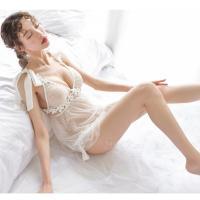 Đầm ngủ buộc dây ren hoa kèm quần lót nữ - Màu Trắng, Đen Free size - Quyến rũ chết người - vay-ngu-sexy-tk2109-9.jpg