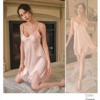 Váy ngủ gợi cảm giá rẻ cùng quần lót nữ mỏng - Màu Hồng cỡ S - Cuốn hút - vay-ngu-lua-diu-dang-tk1306-3.jpg
