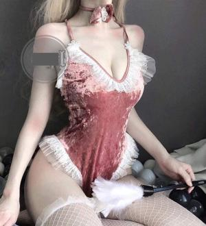 Váy ngủ cosplay thỏ nhung hồng đen kèm bờm thỏ tinh nghịch - Màu Đen, Hồng Free size - đêm ngọt ngào - 745286409171634519990383127282442608574464n_cmsh2fug.jpg