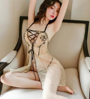 Đầm ngủ xuyên thấu dễ thương kèm quần lót nữ lọt khe - Màu Nude Free size - Khơi dậy ham muốn - vay-ngu-sexy-xuyen-thau-tk3086-4.jpg