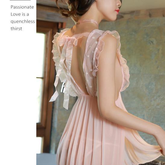 Váy ngủ đêm tân hôn kèm quần lót nữ mỏng dính - Ảnh 3