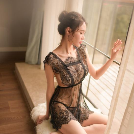 Đầm ngủ ren kèm quần lót nữ cotton - Ảnh 1