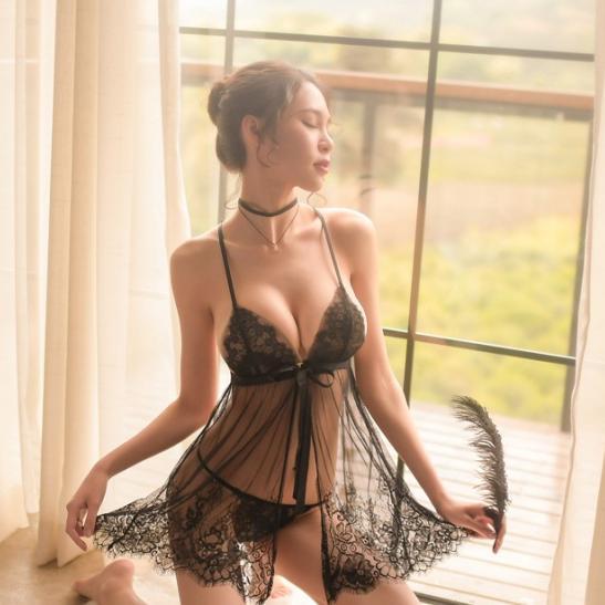 Váy ngủ ren gợi cảm kèm quần lót nữ siêu mỏng - Ảnh 1