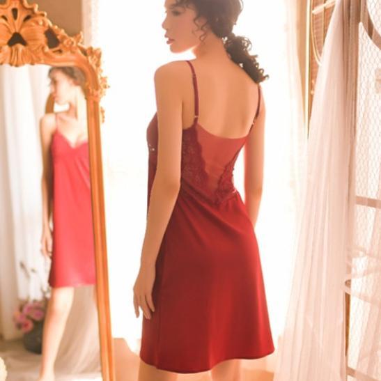 Váy ngủ phi bóng cùng quần lót cotton nữ - Ảnh 3