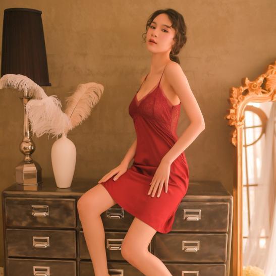 Váy ngủ phi bóng cùng quần lót cotton nữ - Ảnh 2