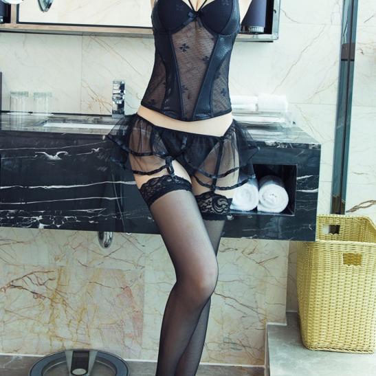 Áo lót nữ gồm quần lót nữ không đáy + kẹp vớ nhỏ nhắn + quần tất / vớ gợi tình - Ảnh 1
