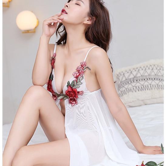 Váy ngủ xuyên thấu gồm quần lót nữ thun lạnh - Ảnh 5
