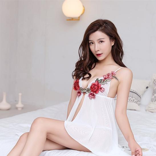 Váy ngủ xuyên thấu gồm quần lót nữ thun lạnh - Ảnh 4