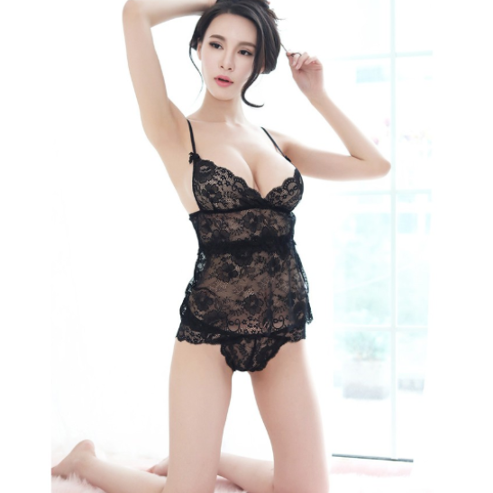 Bộ ngủ kèm Áo ngực bra + quần lót nữ ren - Ảnh 3