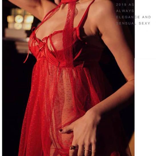 Váy ngủ chấm bi gọng cao cấp gồm quần lót nữ gợi cảm - Ảnh 2