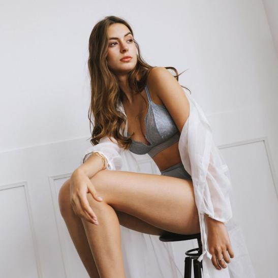 Áo ngực không gọng cùng quần lót nữ bằng lưới - Ảnh 3