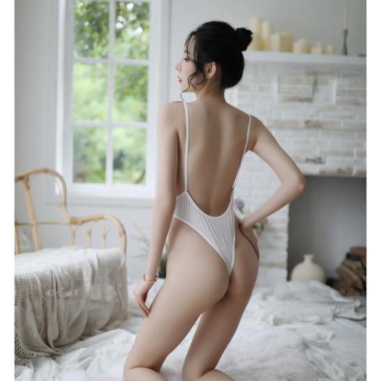 Váy ngủ thun trơn liền thân xẻ đáy sexy - Ảnh 5