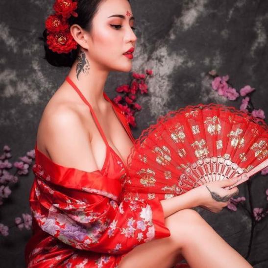 Váy ngủ cao cấp kèm quần áo lót nữ cosplay kimono gợi cảm - Ảnh 4