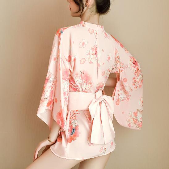 Áo ngủ kimono hoa anh đào gợi cảm - Ảnh 2