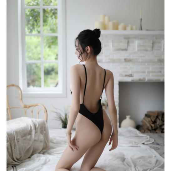 Váy ngủ thun trơn liền thân xẻ đáy sexy - Ảnh 3