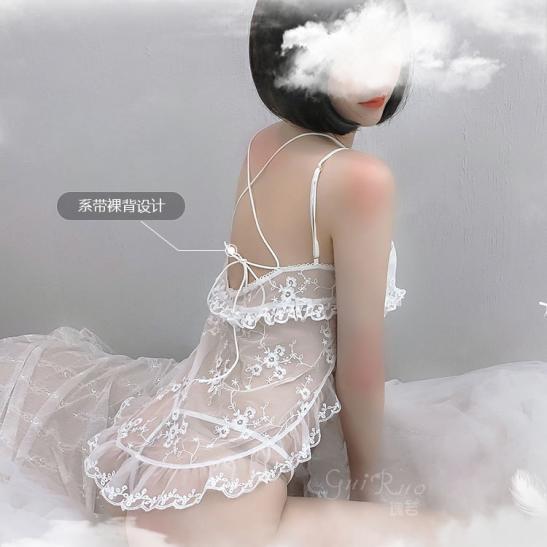 Váy ngủ sexy ngắn ren xuyên thấu - Ảnh 7