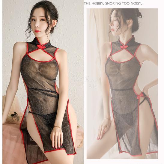 Váy ngủ sườn xám siêu mỏng kèm quần lọt khe - Ảnh 4