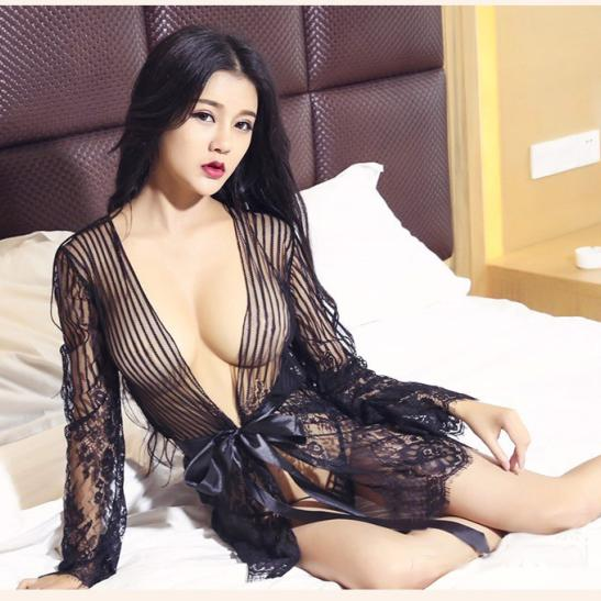 Set nội y kèm áo choàng cao cấp + quần tất / vớ sexy - Ảnh 3
