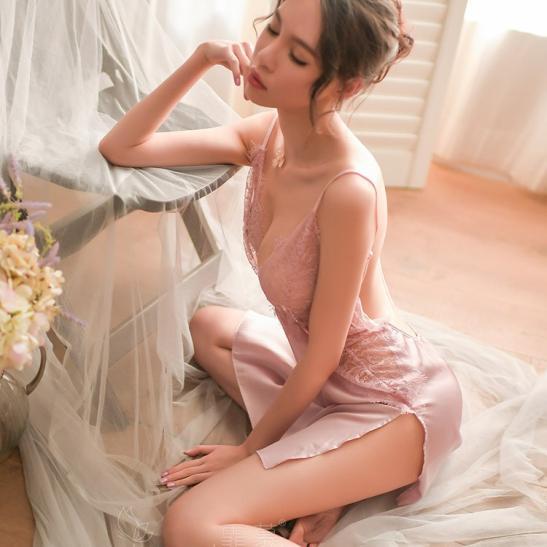 Váy ngủ lua viền ren gợi cảm - Ảnh 1
