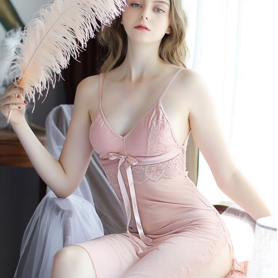 Váy ngủ ren thun mềm mại kèm quần lót lọt khe nóng bỏng - Ảnh 7