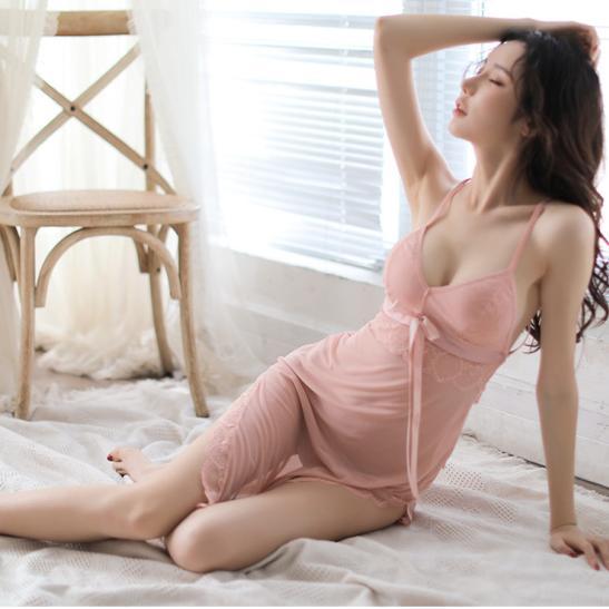 Váy ngủ ren thun mềm mại kèm quần lót lọt khe nóng bỏng - Ảnh 1