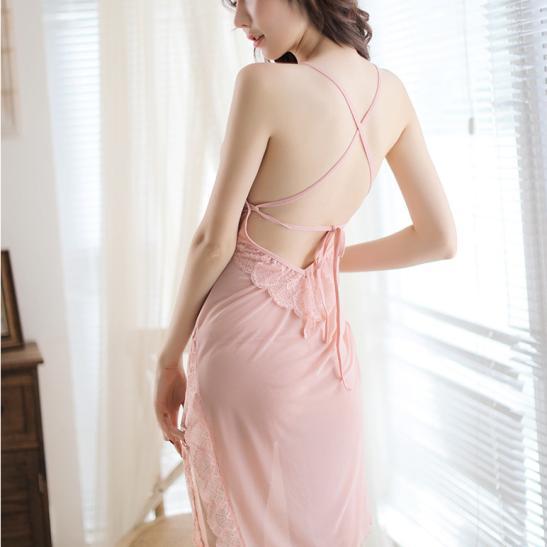 Váy ngủ ren thun mềm mại kèm quần lót lọt khe nóng bỏng - Ảnh 3