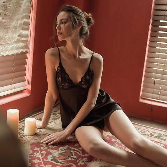 Váy ngủ lụa cao cấp ngực phối ren quyến rủ - Ảnh 11