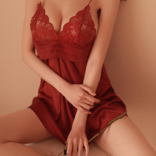 Váy ngủ lụa cao cấp ngực phối ren quyến rủ - Ảnh 1