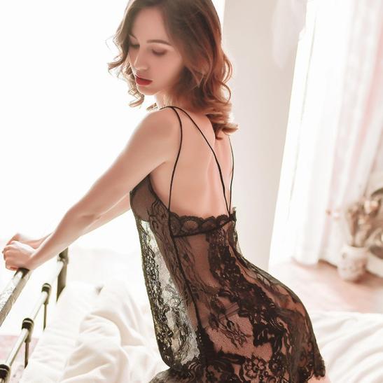 Đầm ngủ ren xuyên thấu cùng quần lót nữ gợi cảm - Ảnh 2