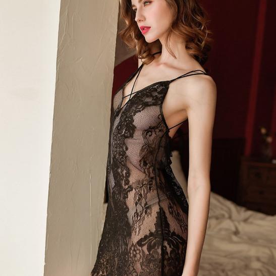 Đầm ngủ ren xuyên thấu cùng quần lót nữ gợi cảm - Ảnh 1