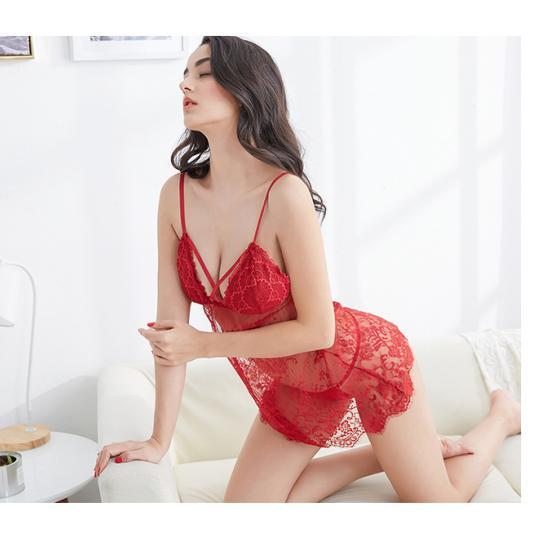 Đầm ngủ ren sexy cùng quần lót lọt khe nữ - Ảnh 1