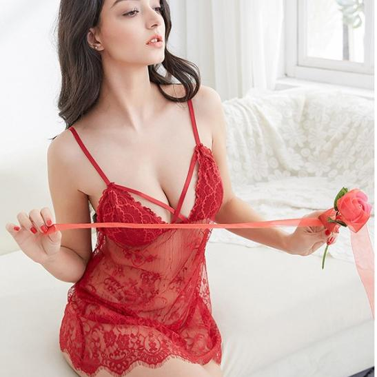 Đầm ngủ ren sexy cùng quần lót lọt khe nữ - Ảnh 3