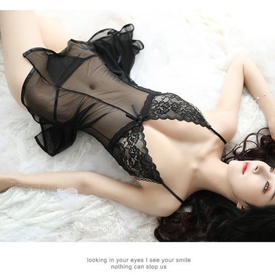 Váy ngủ gợi cảm trong suốt kèm quần lót lọt khe - Ảnh 6
