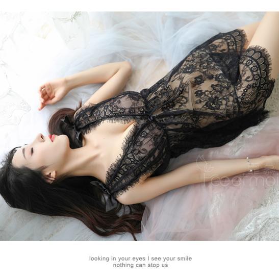 Đầm ngủ ren xuyên thấu cùng quần lọt khe mỏng dính - Ảnh 5