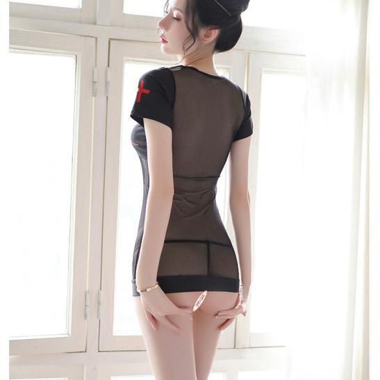 Đầm ngủ cosplay y tá xuyên thấu quyến rũ kèm quần lót lọt khe - Ảnh 7