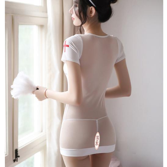 Đầm ngủ cosplay y tá xuyên thấu quyến rũ kèm quần lót lọt khe - Ảnh 4