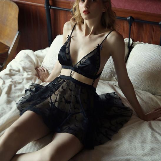 Váy ngủ xuyên thấu cao cấp kèm quần lót nữ đẹp nhất - Ảnh 1