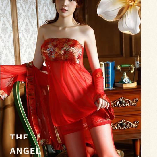 Váy ngủ cô dâu cổ trang xuyên thấu siêu sexy - Ảnh 3