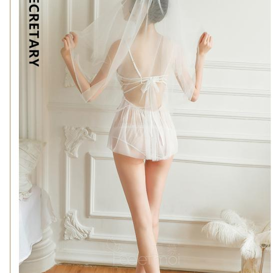 Váy ngủ cô dâu voan trong suốt kèm quần lót nữ gợi cảm - Ảnh 6