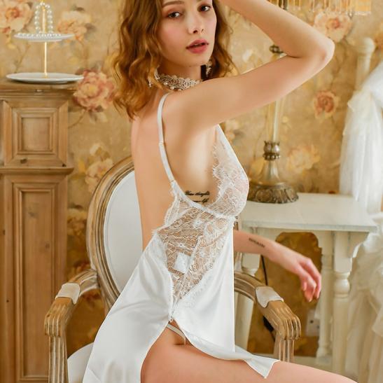 Váy ngủ lua viền ren gợi cảm - Ảnh 8
