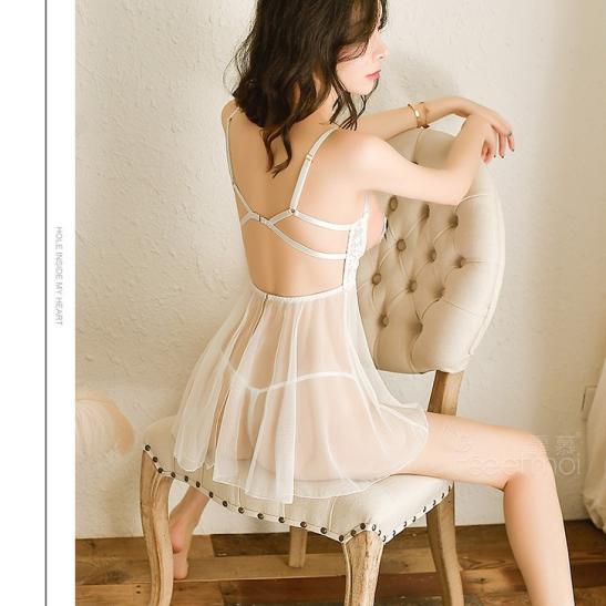 Váy ngủ hở ngực dễ thương cùng quần lót nữ trong suốt - Ảnh 8