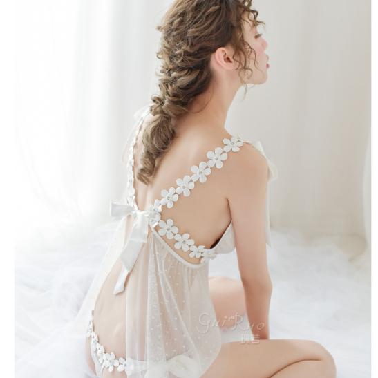 Đầm ngủ buộc dây ren hoa kèm quần lót nữ - Ảnh 7