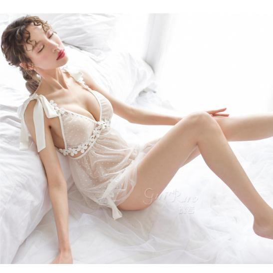 Đầm ngủ buộc dây ren hoa kèm quần lót nữ - Ảnh 6